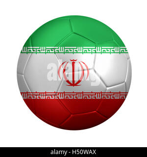 3D rendering of soccer ball wrapped in Iran's national flag. Isolated on white. - Stock Photo