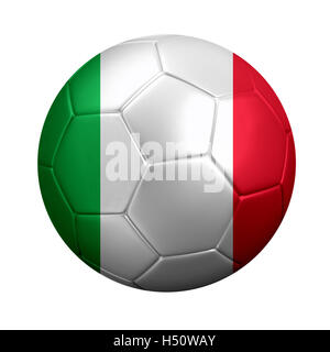 3D rendering of soccer ball wrapped in Italy's national flag. Isolated on white. - Stock Photo