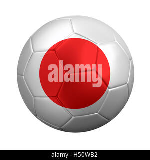 3D rendering of soccer ball wrapped in Japan's national flag. Isolated on white. - Stock Photo
