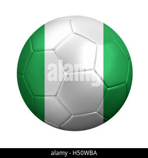 3D rendering of soccer ball wrapped in Nigeria's national flag. Isolated on white. - Stock Photo