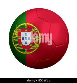 3D rendering of soccer ball wrapped in Portugal's national flag. Portugal is a soccer powerhouse in European and - Stock Photo