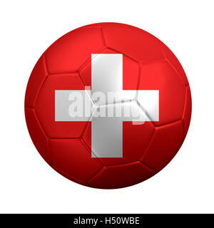3D rendering of soccer ball wrapped in Switzerland's national flag. Isolated on white. - Stock Photo