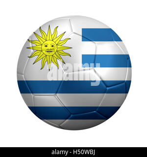 3D rendering of soccer ball wrapped in Uruguay's national flag. Isolated on white. - Stock Photo
