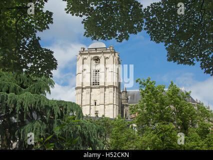 Bell and clock tower St Julian Cathedral Le Mans France - Stock Photo