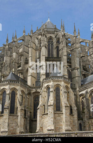 Flying buttresses St Julian Cathedral Le Mans France - Stock Photo