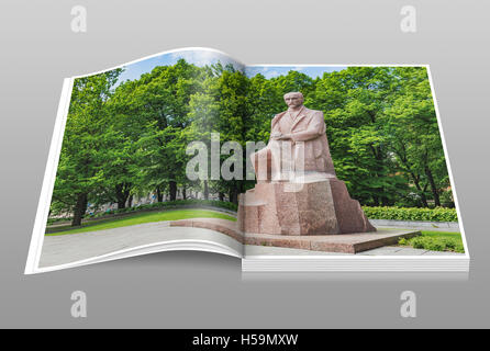 The monument of Janis Rainis (1865-1929) is located in the Vermanes Garden in Riga, Latvia, Baltic States, Europe - Stock Photo