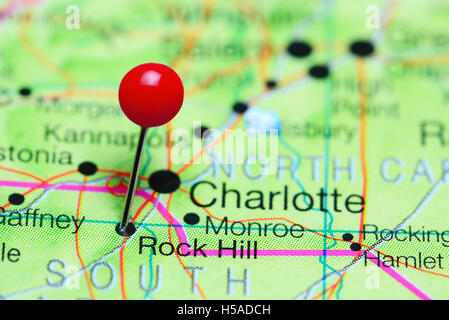 Rock Hill pinned on a map of South Carolina, USA - Stock Photo
