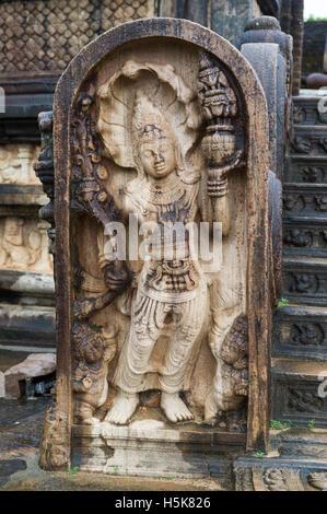 Guard stone, The Vatadage (circular relic house) in The Sacred Quadrangle in the Ancient City of Polonnaruwa, Sri - Stock Photo