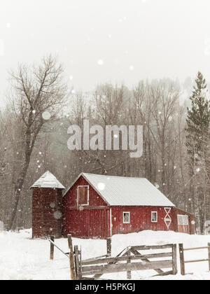 Rustic old red barn in beautiful snowy winter landscape, Twisp, Methow Valley, Washington State, WA - Stock Photo