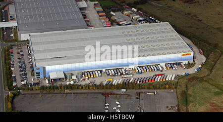 aerial view of DHL Exel Supply Chain Burton Foods warehouse near Liverpool, UK - Stock Photo
