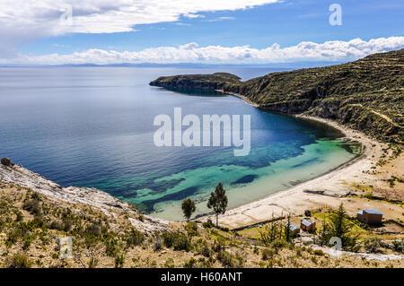 Seaside on the Isla del Sol on the Lake Titicaca in Bolivia - Stock Photo