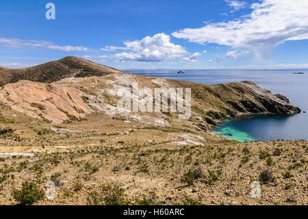 View of a penninsula on the Isla del Sol on the Lake Titicaca in Bolivia - Stock Photo