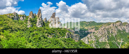 Panoramic view of the famous Lucan Dolomites with beautiful mountain village of Castelmezzano, one of 'The most - Stock Photo