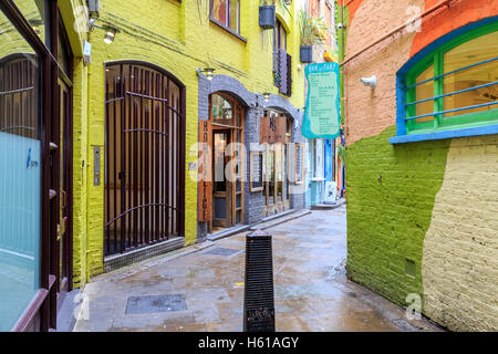 London, UK - August 2, 2016 - Neal's Yard, a small alley in Covent Garden area - Stock Photo