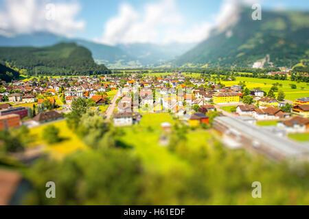 Balzers village in Liechtenstein - Stock Photo