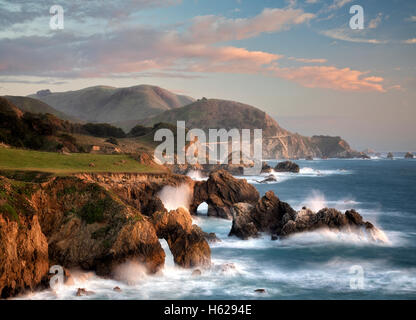 Arches and waves on Big Sur coast, California - Stock Photo