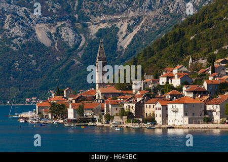 View of Dobrota, Bay of Kotor, Montenegro - Stock Photo