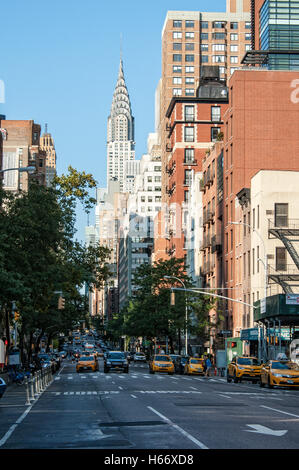 6th Avenue street view with Chrysler Building, Manhattan, New York City - Stock Photo