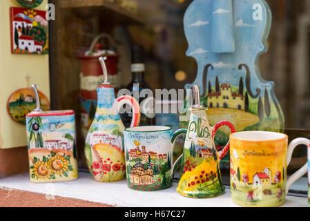 Souvenirs, Street in Montepulciano, Tuscany, Italy, EU, Europe - Stock Photo