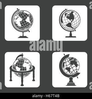 Earth globe icons set - Stock Photo