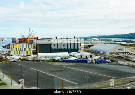 Titanic Studios (a.k.a. The Paint Hall), filming location for Game of Thrones, and the Titanic Exhibition Centre, - Stock Photo