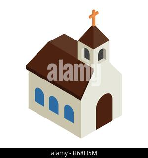 Catholic church isometric 3d icon - Stock Photo