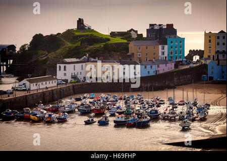 The Harbour and Castle Hill in Tenby a seaside town on the western side of Carmarthen Bay, Pembrokeshire, West Wales, - Stock Photo