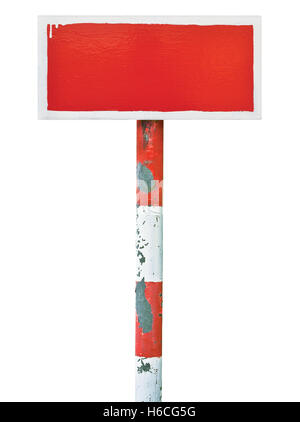 Red hand-painted prohibition warning sign board horizontal metal signage, white frame, copy space background, old - Stock Photo