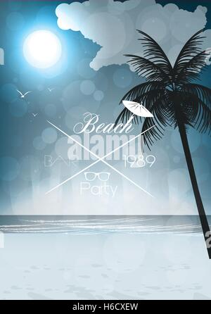 Night Seaside View Party Poster - Vector Illustration - Stock Photo
