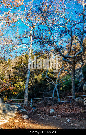 The trail head of Romero Canyon Fire Road and Trail.  A popular location for outdoor activities in Santa Barbara, - Stock Photo