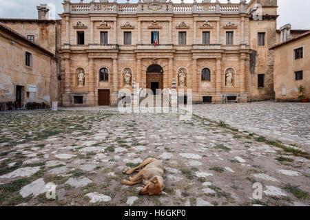 Front entrance of the Certosa di San Lorenzo charterhouse in Padula, Capania, Italy. - Stock Photo