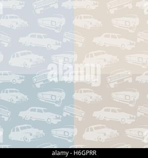 Isolated abstract white color retro cars on the blue and pink background pattern. Automobiles backdrop. Kids wallpaper. - Stock Photo