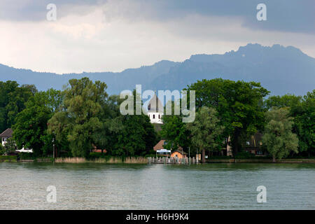 View to the Fraueninsel ( Island ) and Monastery Church with the Kampenwand in the background, Chiemsee Chiemgau, - Stock Photo