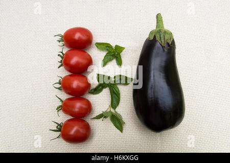 Five Ripe Roma Tomatoes in a Row, Fresh Basil and Eggplant , all Organic, on Off White Background Photographed from - Stock Photo