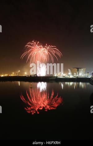 Fireworks display at Belfast's Titanic Quarter, Belfast, Northern Ireland.  Ideal, Ignite, Imagine, Important, Indulgence, - Stock Photo
