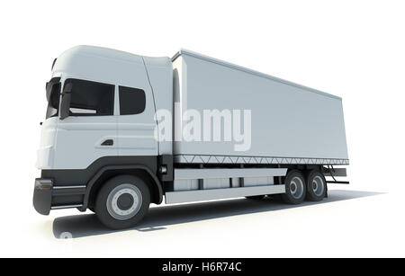 industry traffic transportation wheels vehicle trailer cabin driving truck trailer merchandise truck lorry white - Stock Photo