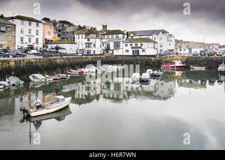 The small harbour at Custom House Quay in Falmouth, Cornwall. - Stock Photo