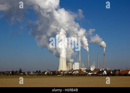 nuclear power plant and residential area - Stock Photo