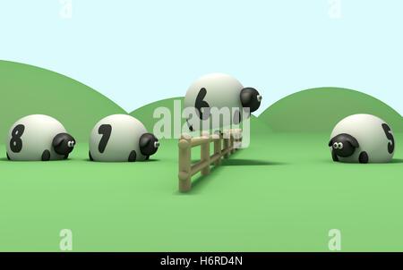 order sheep spring bouncing bounces hop skipping frisks jumping jump sleep sleeping series farm herd restlessness - Stock Photo