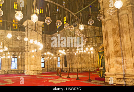 The scenic walls in the Great Mosque of Muhammad Ali Pasha are made from alabaster - Stock Photo