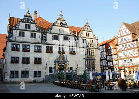 famous sightseeing town hall sunshade style of construction architecture architectural style lower saxony medieval - Stock Photo