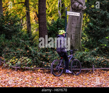 Berlin Tiergarten park. Senior male cyclist on bicycle and golden autumn leaves on ground and Autumnal trees - Stock Photo