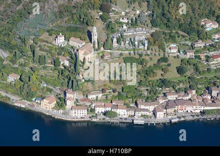 WATERFRONT OF MORCOTE (aerial view). Lake Lugano, Canton of Ticino, Switzerland. - Stock Photo
