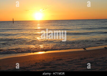 Sunset over the ocean in Florida - Stock Photo