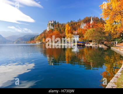 Bled lake in Autumn, Slovenia - Stock Photo