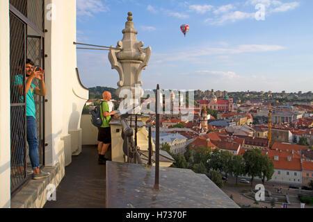 View over Vilnius old town from St John's belltower in Vilnius University - Stock Photo