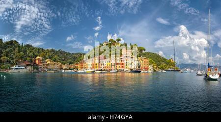 Portofino, panoramic view with its colorful houses - Ligurian Sea, Italian Riviera, Italy - Stock Photo