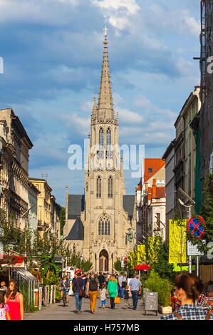 KATOWICE, POLAND - JULY 28, 2015: St. Mary's Street (Polish: Ulica Mariacka), popular place in Katowice, attracted - Stock Photo