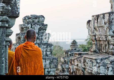 cambodian buddhist monk at angkor wat temple near siem reap cambodia - Stock Photo
