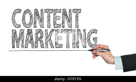content marketing written by hand, hand writing on transparent board, photo - Stock Photo